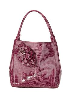 Croco Bag with Side Flower