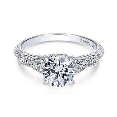 18K White Gold Vintage Inspired Amavida Diamond Engagement Ring Beautiful Wedding Rings, Wedding Rings Vintage, Diamond Rings, Pretty Wedding Rings, Diamond Stacking Rings