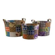 Set of three batik baskets crafted with fabric remnants from Indonesian artisans.Product: Small, medium and large basket...
