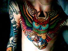 Love the colors of this owl tattoo!!