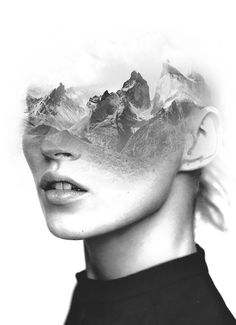"subtly brilliant superimposition art by Antonio Mora (Spain) ""Mountain Kate"" • creates surreal dream-like hybrid portraits to inspire, from images found on the Web / blogs / mags • masters in Graphic Design, art director 15 years but replaced interest for own art of painting in his industrial building studio by the beach • off'l: www.mylovt.com • off'l pinterest: www.pinterest.com/amoradiez • off'l fb: http://goo.gl/ceQhYg"