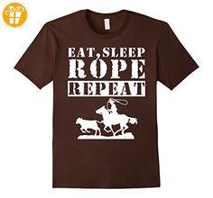 Roping Shirts - Eat Sleep Rope Repeat Shirt Herren, Größe M Braun (*Partner-Link)