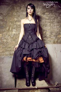 Steampunk Wedding Dress Gothic Lolita Inspired Vampire  in Black Cotton -Custom to your Size. $525.00, via Etsy.
