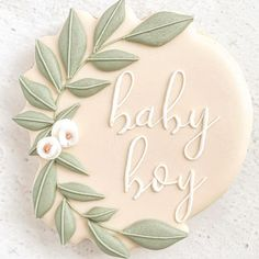 """⠀ ⠀ ⠀ ⠀ ⠀⠀ 𝕗𝕝𝕠𝕦𝕣'𝕕's Instagram profile post: """"Greenery plaques a plenty!! 🍃 This and so many others will be available in the shop, which will be opening REAL soon, I promise! The few…"""" Baby Boy Cookies, Cookies For Kids, Fancy Cookies, Baby Shower Cookies, Cut Out Cookies, Baby Shower Fun, Cookie Icing, Royal Icing Cookies, Sugar Cookies"""