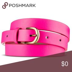 neon pink belt to put on waist to break up the shirt and denim skirt