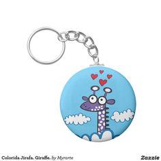 Colorida Jirafa. Giraffe. Regalos, Gifts. #llavero #KeyChain