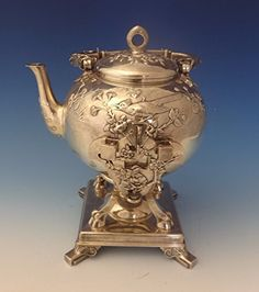 JAPANESE BY TIFFANY & CO. STERLING KETTLE ON STAND W/ BIRDS & FOLIAGE (#0141) antiquecupboard http://www.amazon.com/gp/product/B017J1969S/ref=as_li_qf_sp_asin_il_tl?ie=UTF8&camp=1789&creative=9325&creativeASIN=B017J1969S&linkCode=as2&tag=divinetreas03-20&linkId=MOLD34TOXMXHOAZB