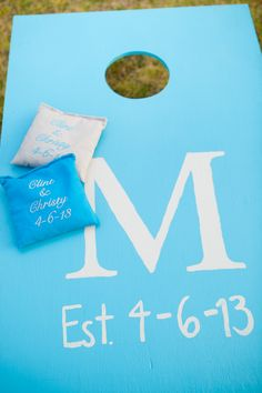 DIY'd corn hole toss for outside wedding reception Outside Wedding Ceremonies, Corn Hole, Wedding Games, Friend Wedding, Wedding Bells, Wedding Reception, Our Wedding, Fairytale Weddings, Wedding Designs