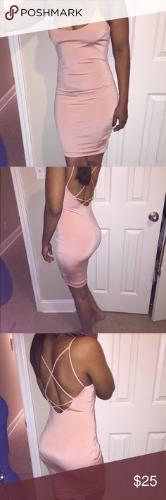 Peach/pale pink bodycon slip dress Tag says peach but more pale pink color..criss cross back. Brand new, tag still attached, size M, see photos for measurements. Dresses Mini