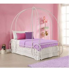 GIRLS PRINCESS CARRIAGE BED TWIN WHITE CANOPY METAL FRAME BEDROOM FURNITURE KIDS