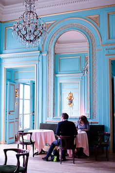 Le salon bleu - Maxim's | Flickr - Photo Sharing! Aqua and pink