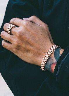 Gold Jewelry Add these stylish and sleek accessories to your man's wardrobe. Sea Glass Jewelry, Copper Jewelry, Body Jewelry, Man Jewelry, Industrial Jewelry, Enamel Jewelry, Jewellery, Unique Jewelry, Men's Fashion Jewelry