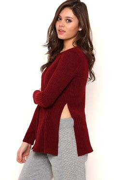 Deb Shops Long Sleeve Soft Knit Top with Extreme Side Slit $10.75