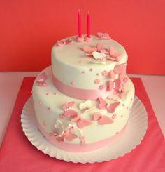 Simply Cakes: ¡Felicidades Marijose y Ele! Butterfly Birthday Cakes, Baby Birthday Cakes, Butterfly Cakes, Pink Butterfly, Elegant Birthday Cakes, Beautiful Birthday Cakes, Cake Decorating Techniques, Girl Cakes, Love Cake