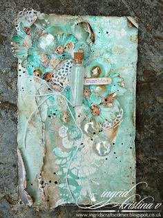 Mixed media card by Ingrid Kristina inspired by seaside vacations
