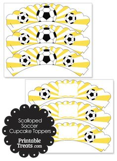 Here are some fun yellow scalloped sunburst soccer cupcake wrappers you can use to decorate soccer party cupcakes or team treats. These yellow scalloped sunburst soccer cupcake wrappers have Soccer Cupcakes, Themed Cupcakes, Soccer Practice, Soccer Party, Cupcake Wrappers, Cupcake Party, Some Fun, Activities For Kids, Printables