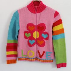 United Colors Benetton Girls Love Zip Knit Sweater 12 160 Cardigan Heart