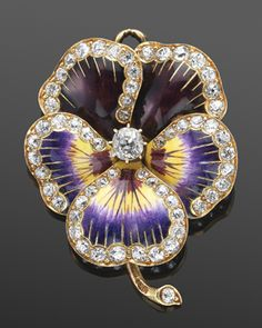 19th Century Violet Enamel and Diamond Stemmed Pansy Flower Brooch