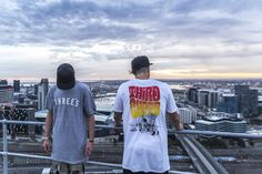 """Hit the rooftops on sunset in Melbourne city. #thirdchapter #explore #visuals #streetwear  Third Chapter Clothing, Wearing the """"THREES"""" & """"Easy Rider"""" T-Shirt."""
