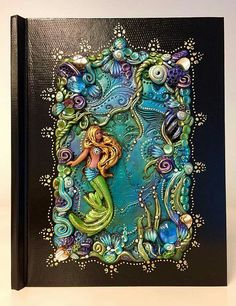 Cute Polymer Clay, Polymer Clay Creations, Polymer Clay Crafts, Diy Clay, Journal Covers, Book Covers, Polymer Clay Embroidery, Engraving Art, Shadow Box Art