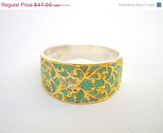 Green gold ring Sterling silver ring with filigree by hilawelner