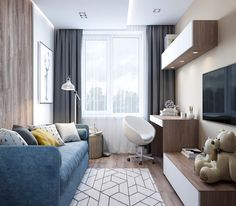 Small Apartment Design, Home Office Design, Home Office Decor, Home Interior Design, Home Decor, Cozy Living Spaces, Living Room Tv, Home And Living, Bedroom Closet Design