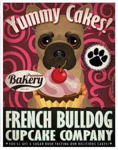 French Bulldog Cupcake Company Original Art by DogsIncorporated, $29.00