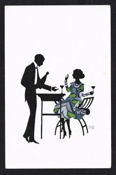Art Deco Silhouette glamour couple drinking by MARTE GRAF 1910s Art Signed PC