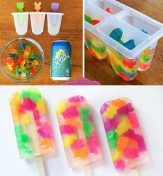 Gummy-Bear-Popsicles- (what about making these for Adults with VODKA gummies!!)  YES!! Gummy Bears, Food And Drink, Hunger Games, Desserts, Ice Cube Trays, The Hunger Games, Tailgate Desserts, Gummi Bears, The Hunger Game
