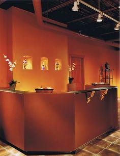 Front desk at the salon spa we designed.