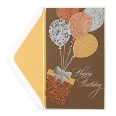 · Process : Foil, glitter, tip-ons. · Envelope : Cream with gold liner. · Contents : 1 card with coordinating envelope. Glitter Ballons, Glitter Boots, Glitter Makeup, Happy Birthday Wishes, Diy Birthday, Birthday Greeting Cards, Greeting Cards Handmade, Glitter Shower Curtain