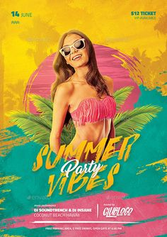 Flyer And Poster Design, Graphic Design Flyer, Creative Banners, Creative Flyers, Music Flyer, Flyer Design Inspiration, Summer Poster, Party Poster, Summer Design