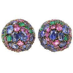 MARILYN COOPERMAN Multi-color Sapphire Dome Earrings | From a unique collection of vintage clip-on earrings at https://www.1stdibs.com/jewelry/earrings/clip-on-earrings/