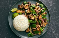 Roasted Mushroom Larb Recipe - NYT Cooking Roasted Mushrooms, Stuffed Mushrooms, Vegetarian Entrees, Vegan Vegetarian, Larb Recipe, Mushroom Recipes, Fresh Herbs, Meal Planning, Healthy Eating