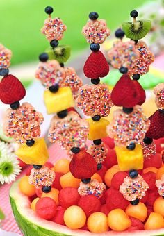 Fruit and rice krispies kebabs
