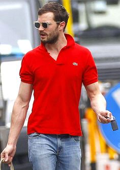 Red-Hot Christian Grey Fifty Shades of Grey's Jamie Dornan looked hunky in a Lacoste shirt while out and about in London April 17.