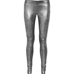 Joseph Leather leggings-style pants ($430) ❤ liked on Polyvore featuring pants, jeans, leggings, trousers, silver, joseph pants, pull on pants, leather pants, stretch waist pants and real leather pants
