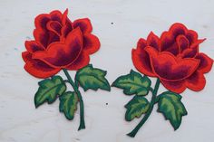2 Red Rose Embroidery Patch Strickingly Vibrant Embroidery Red Rose Appliqué…