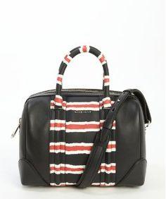 Givenchyblack leather 'Lucrezia' multi-color accent logo imprinted convertible top handle bag