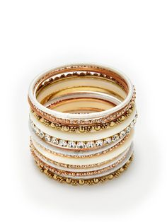 Set of 15 Silk Bangle Bracelets by Amrita Singh on Gilt