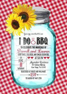 Sunflower, mason jar, country, I do BBQ, BBQ wedding reception invitation by Martin Design