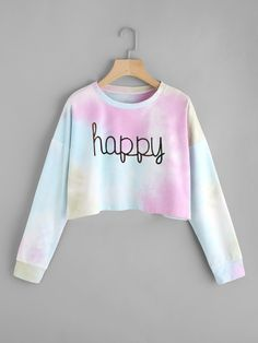 45ec83337c  ROMWE -  ROMWE Drop Shoulder Water Color Crop Sweatshirt - AdoreWe.com Teen