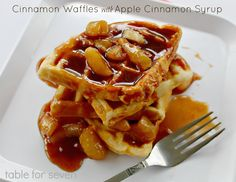 Table for 7: Cinnamon Waffles with Apple Cinnamon Syrup from www.ourtableforseven.com #cinnmonwaffles #syrup #breakfast #applecinnamon
