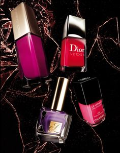 Passione by Dolce & Gabbana. Rose Flamboyant by Dior. Rose Insolent by Chanel. Violet Diva by Estée Lauder.