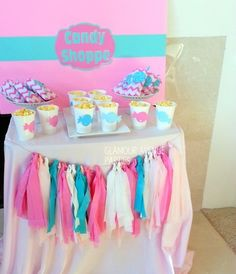 Candy Shoppe at a Spa Party #candyshoppe #spa party