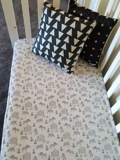 Bear in the Woods Woodland Fitted Cot Crib Sheet by SquishyTotsAU