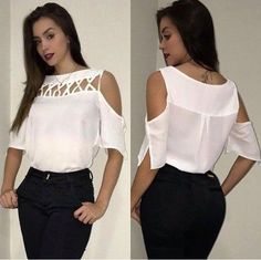 Blusa ombro a ombro - Emilia Bernardo Moda e Tendência 90s Fashion, African Fashion, Fashion Dresses, Womens Fashion, Fashion Tips, Fashion Design, Fashion Blouses, Fashion Mask, Vintage Fashion