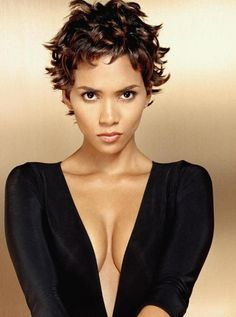 Maybe Halle Berry hair. I think mine may be too thick and is definitely NOT fine. Too much natural wave for Sharon Stone's cuts.