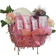 Art of Appreciation Gift Baskets Pretty In Pink Bathtub Rose Spa Bath and Body Gift Set ** Click image for more details.