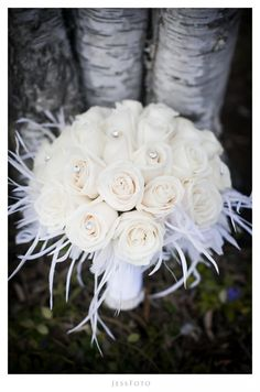 White bridal bouquet, winter wedding, bling, baubles, white feathers, white roses #WeddingBouquet #JessFoto